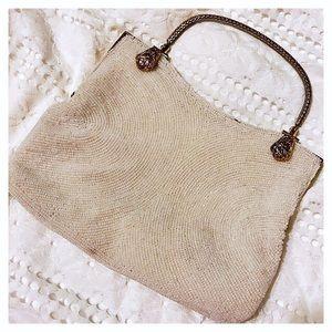 Vintage cream beaded bag